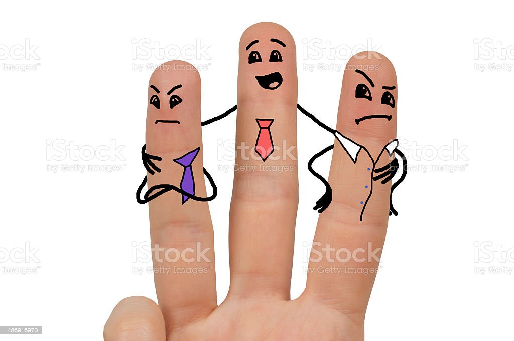 funny stickmen drawn on fingers stock photo