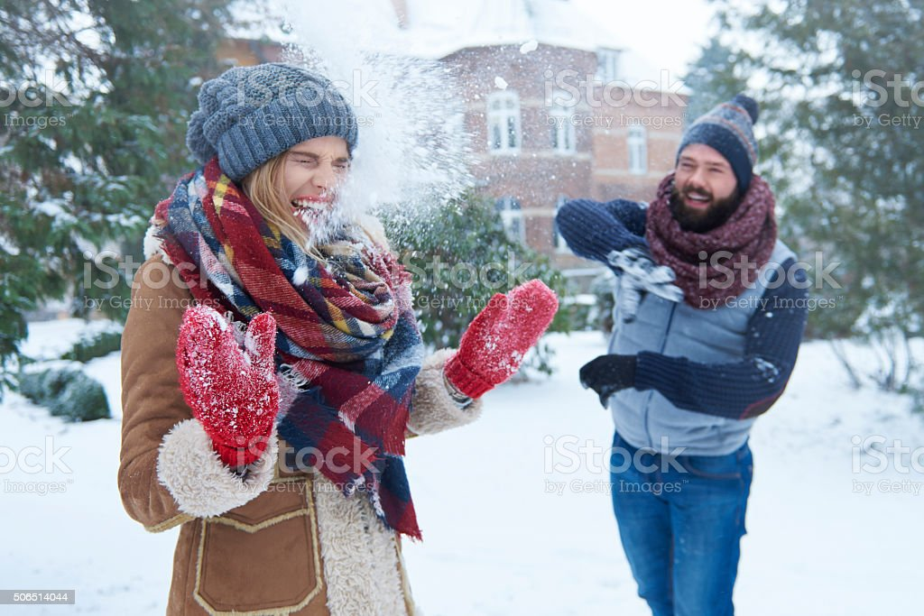 Funny time for loving couple stock photo