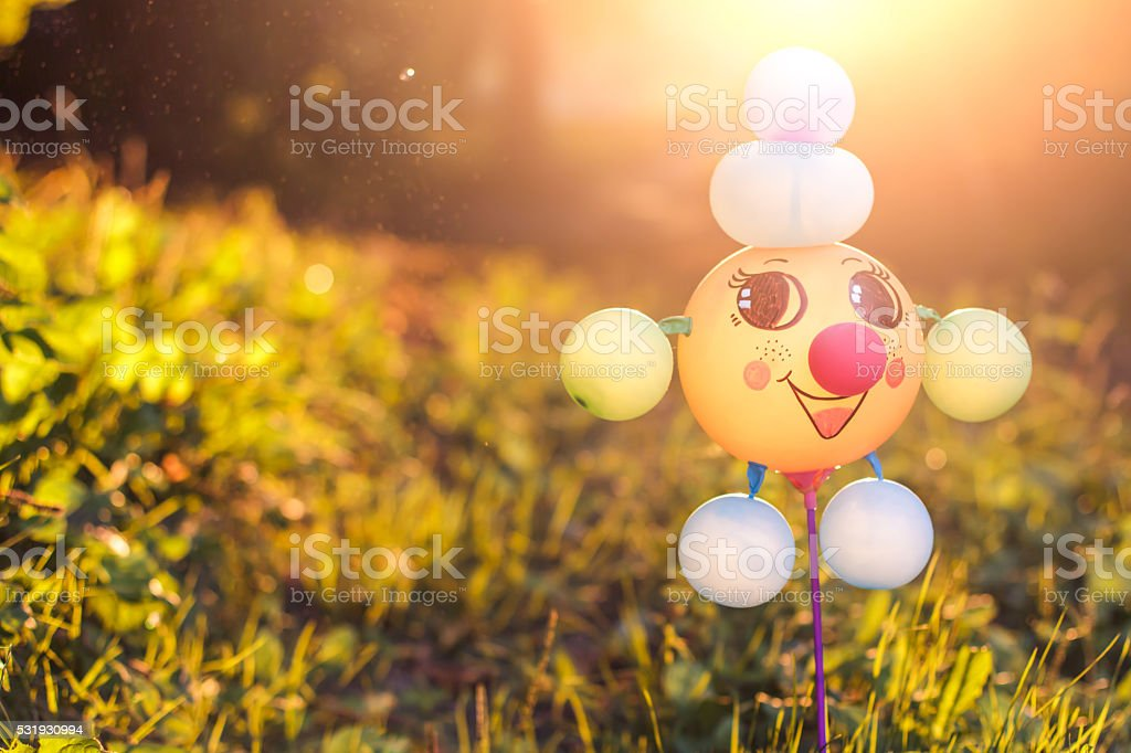 Funny toy made of balloons on a summer meadow stock photo