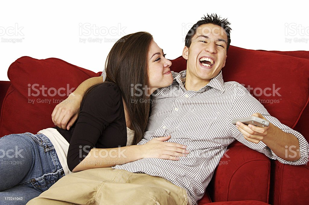 Funny TV Viewing royalty-free stock photo
