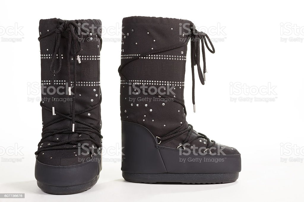 Funny unusual winter boots. stock photo