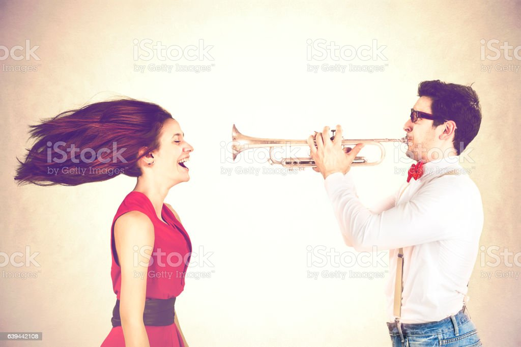 Funny Valentine's Day, series of different approaching acts stock photo