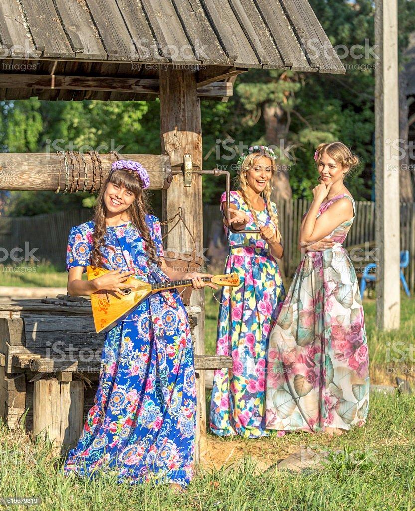 Funny village girls stock photo
