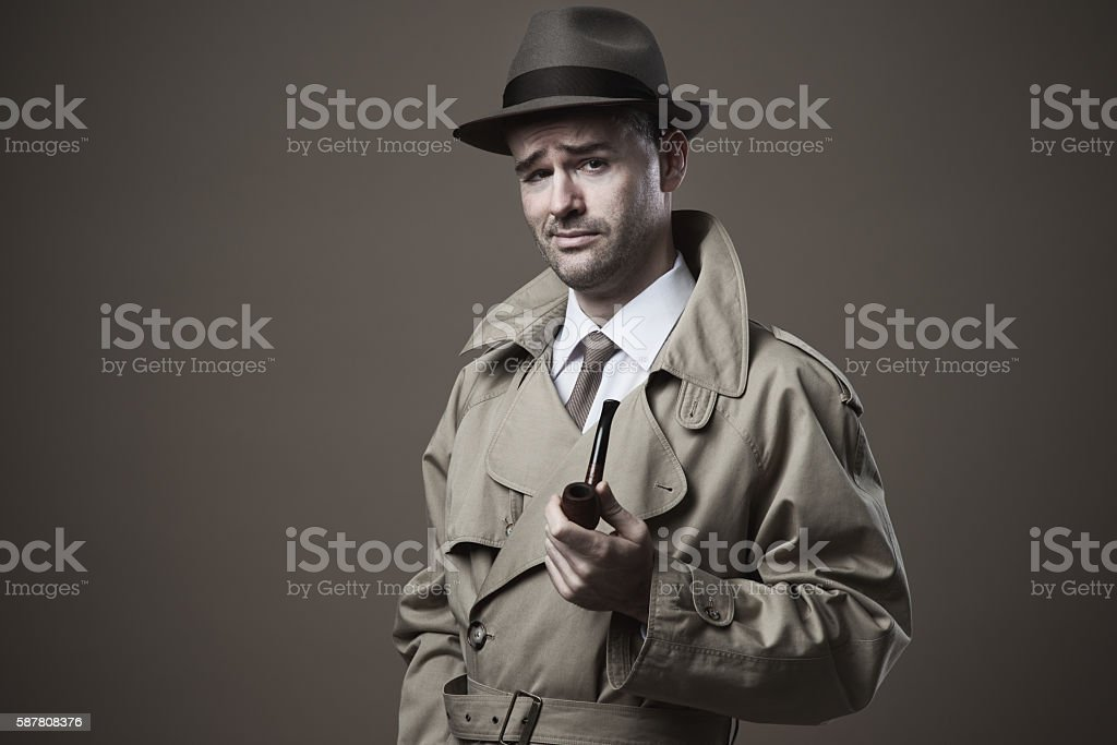 Funny vintage investigator stock photo
