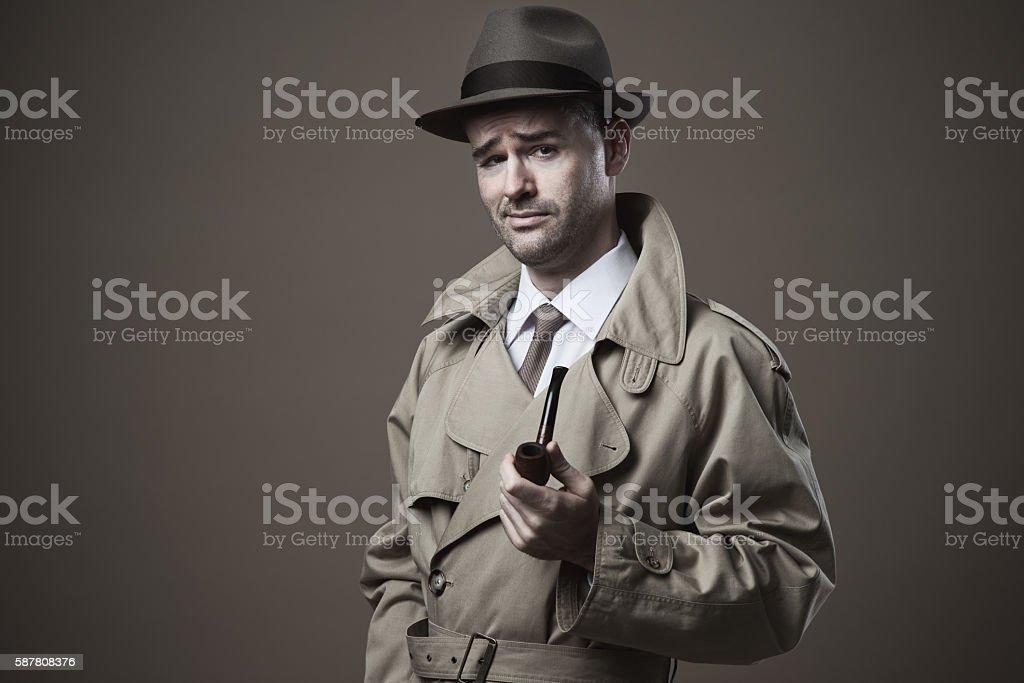 Funny vintage investigator stock photo