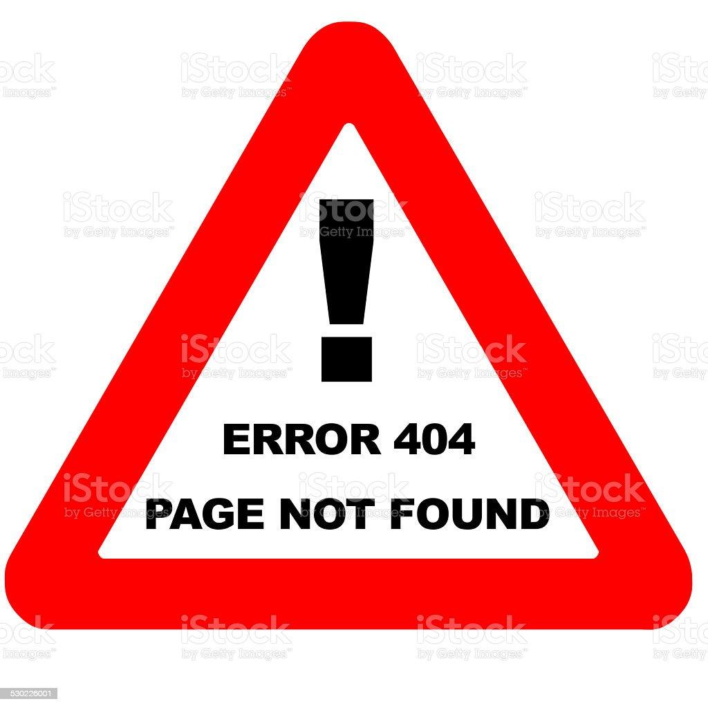 Funny warning sign error 404 isolated on white stock photo