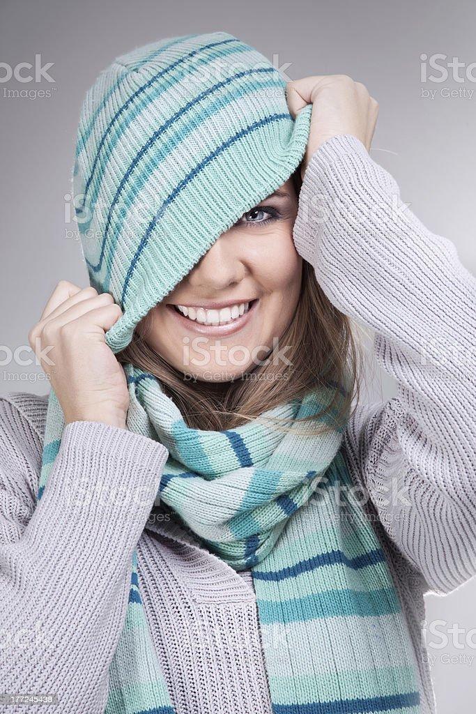 funny winter girl stock photo