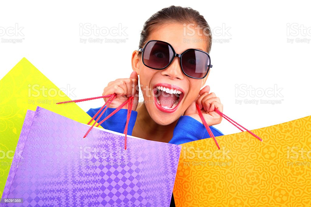 Funny woman shopping royalty-free stock photo