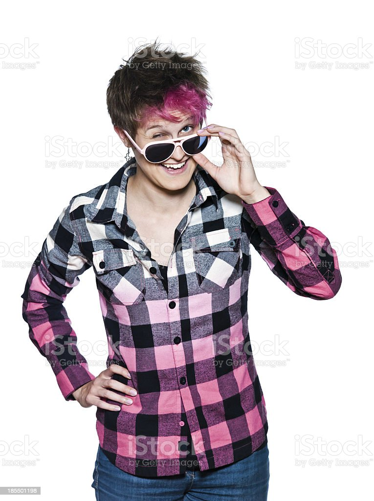funny woman with pink sunglasses royalty-free stock photo