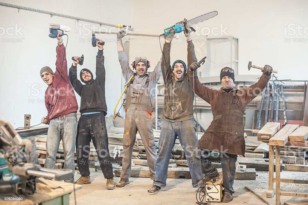 Funny Workers stock photo