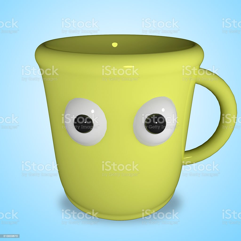 funny yellow cup stock photo