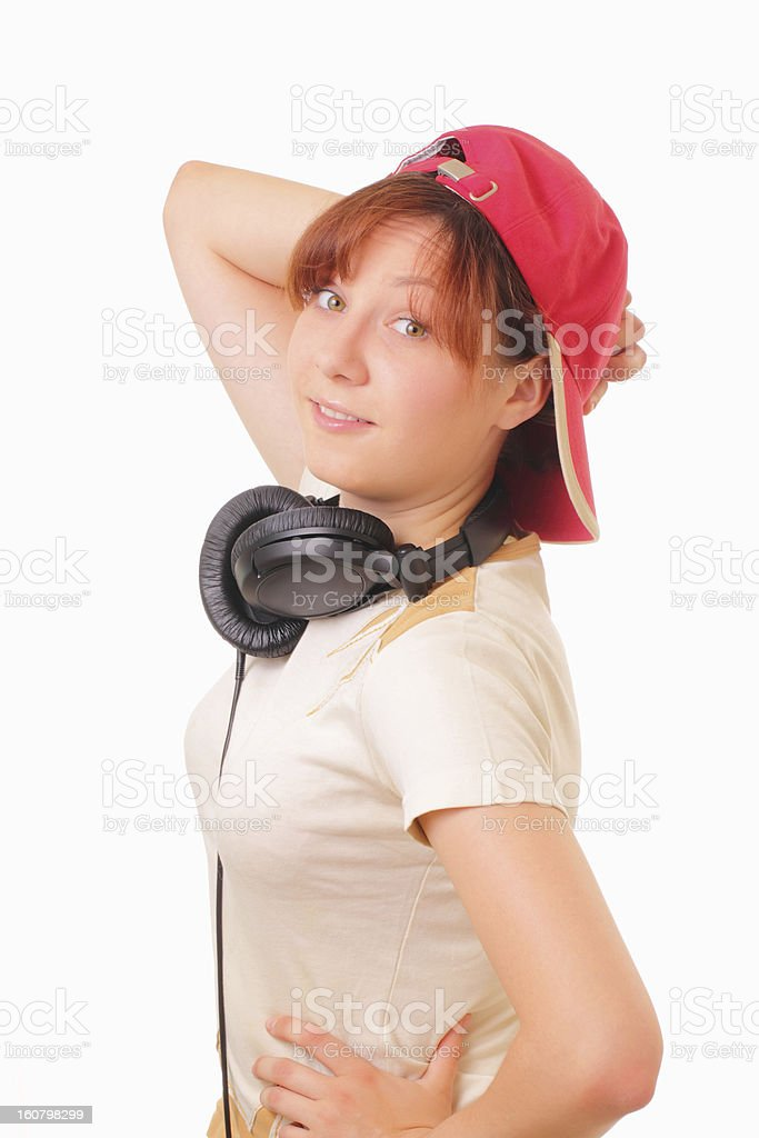 Funny young girl with headphones royalty-free stock photo