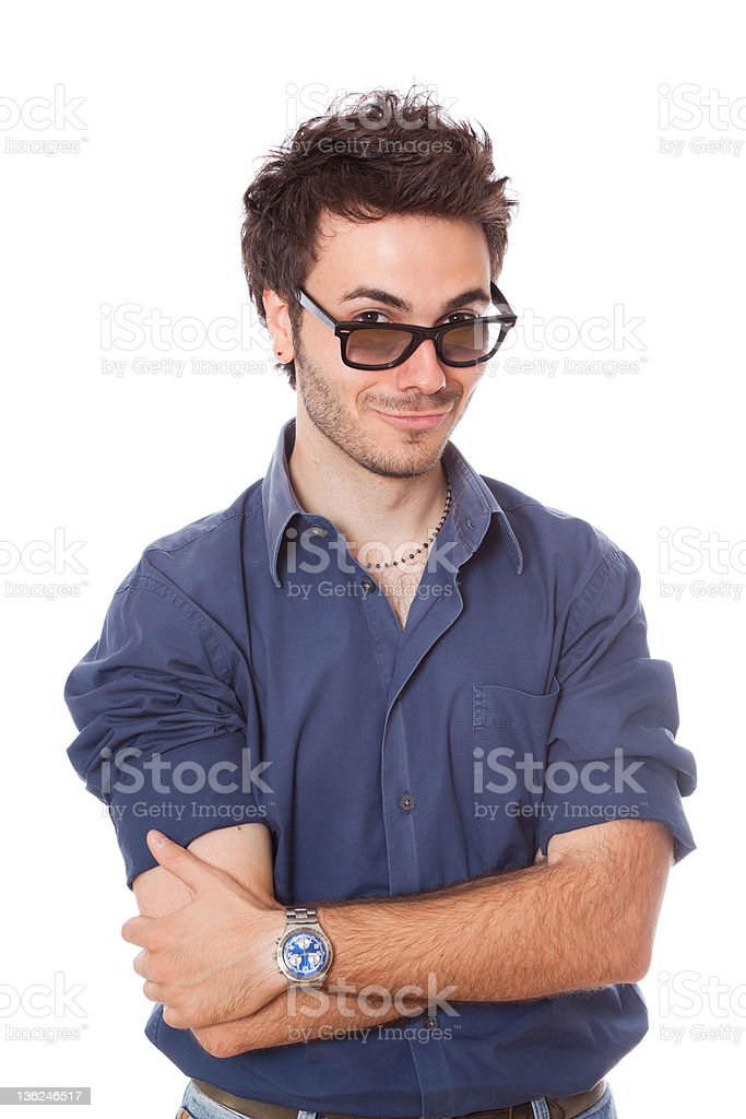 Funny Young Man Portrait on White royalty-free stock photo