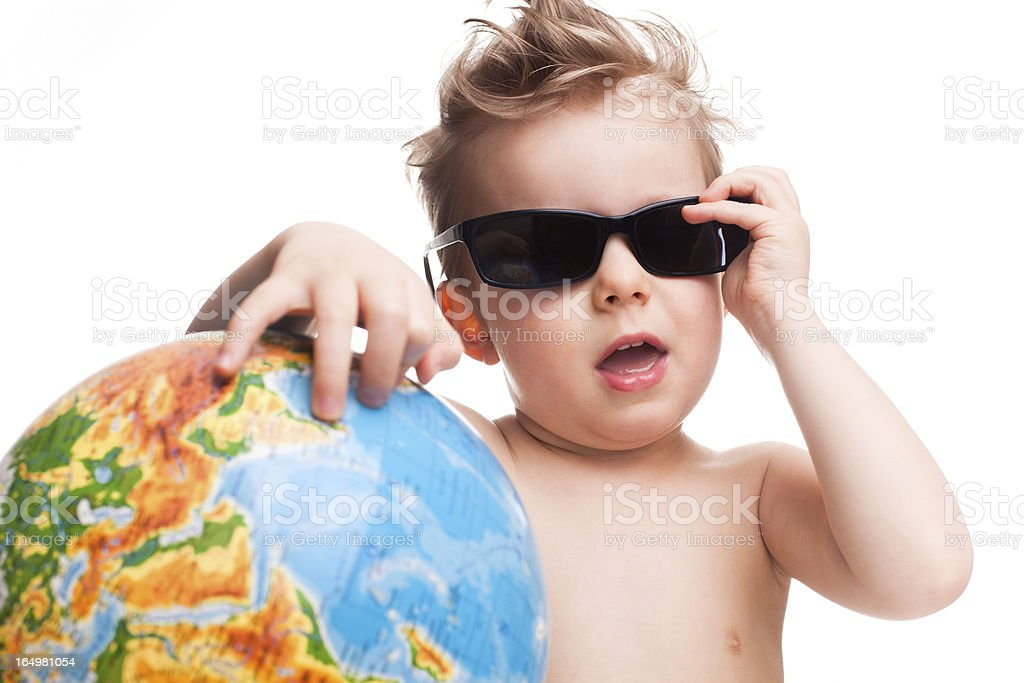 Funny young traveller royalty-free stock photo