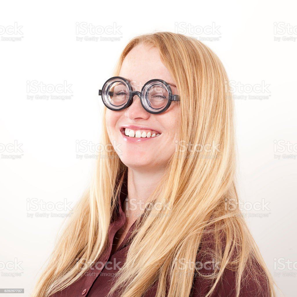 Funny Young Woman Smiling Portrait. stock photo