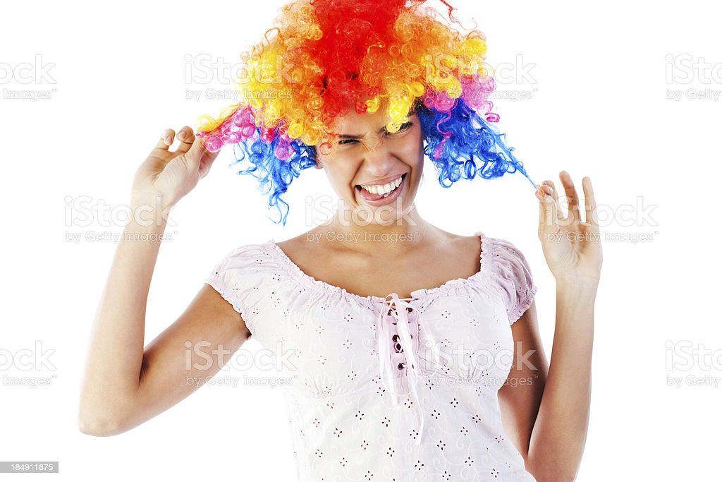 Funny young woman wearing a wig. royalty-free stock photo