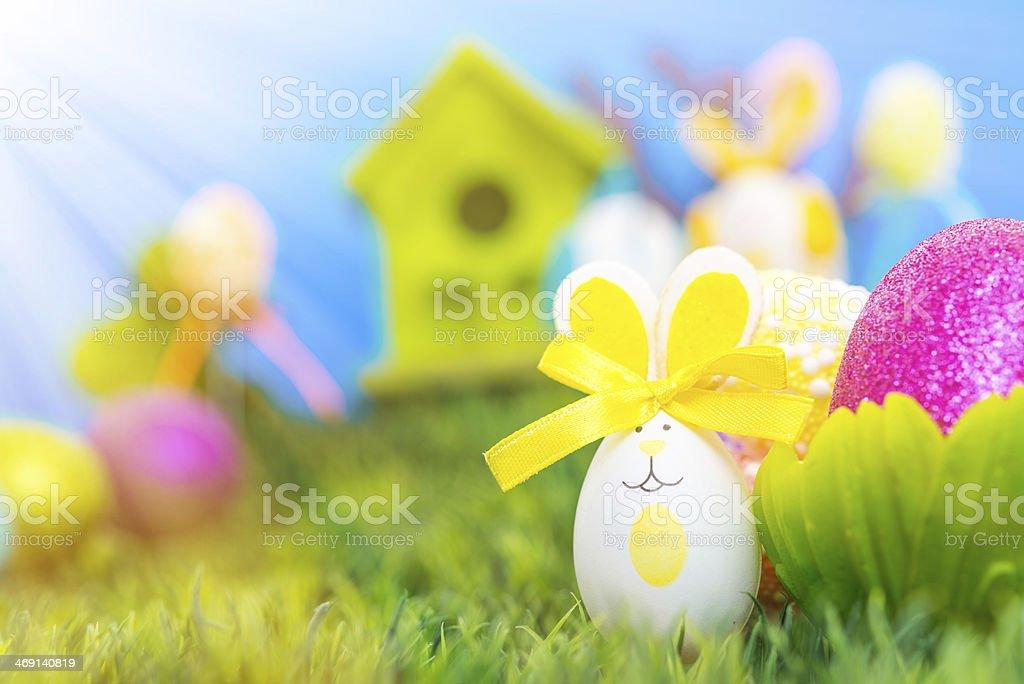 Funy easter eggs stock photo