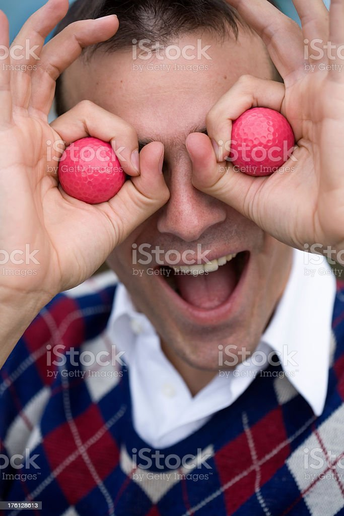 Funy golf player stock photo