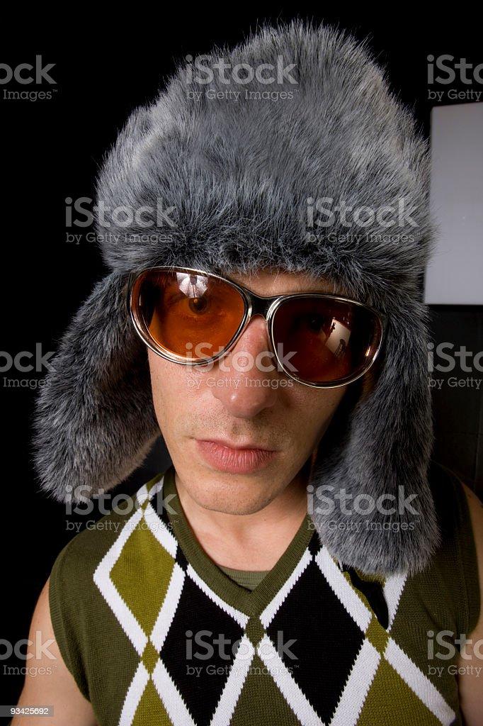 fur cap and sunglasses stock photo
