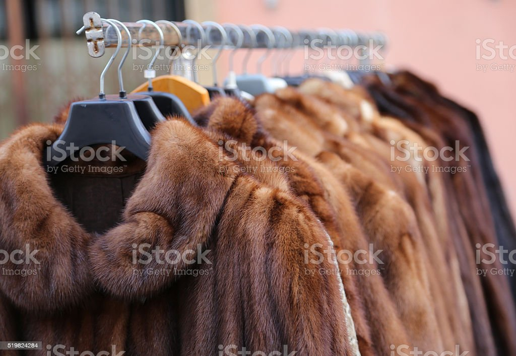 fur coat very sofly in vintage style stock photo