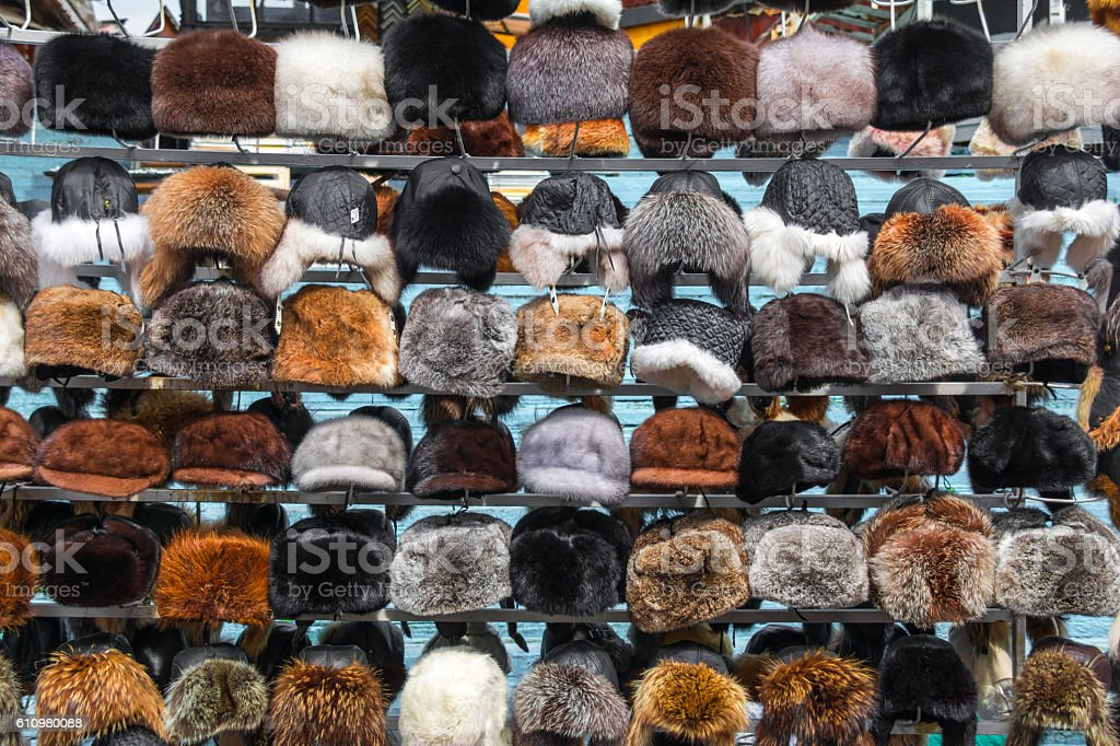 Fur hats stock photo