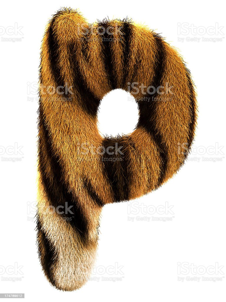 Fur letter P royalty-free stock photo