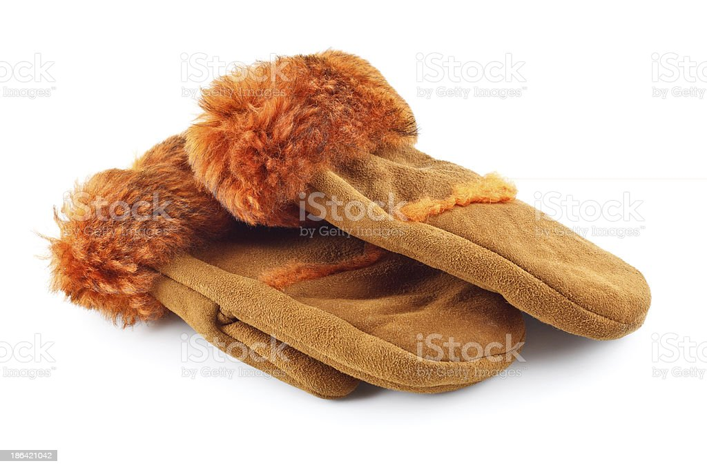 Fur Mittens royalty-free stock photo