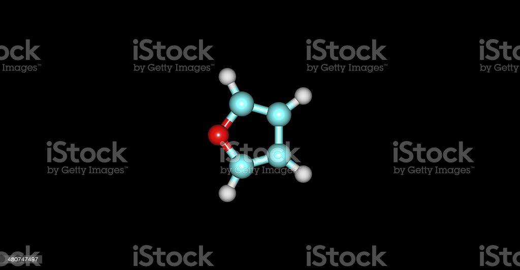 Furan molecular structure on black background stock photo