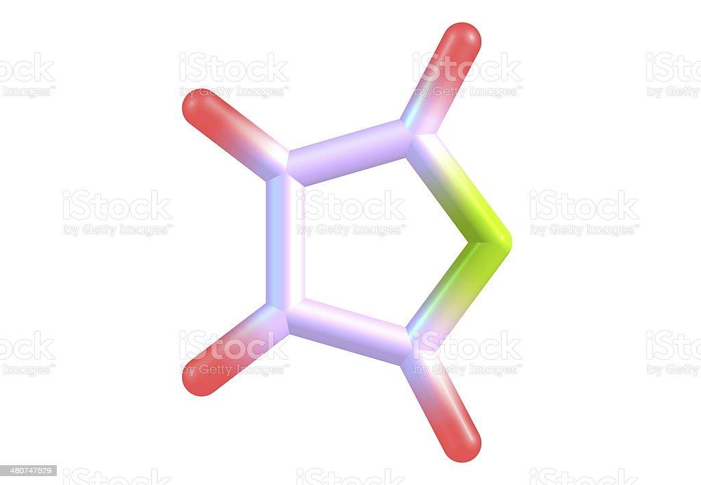 Furan molecular structure on white background stock photo