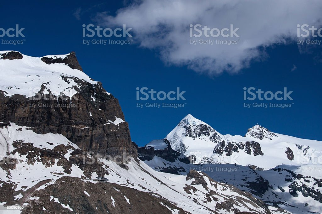 Furggen mountain peak in Pennine Alps, Breuil-Cervinia, Italy stock photo