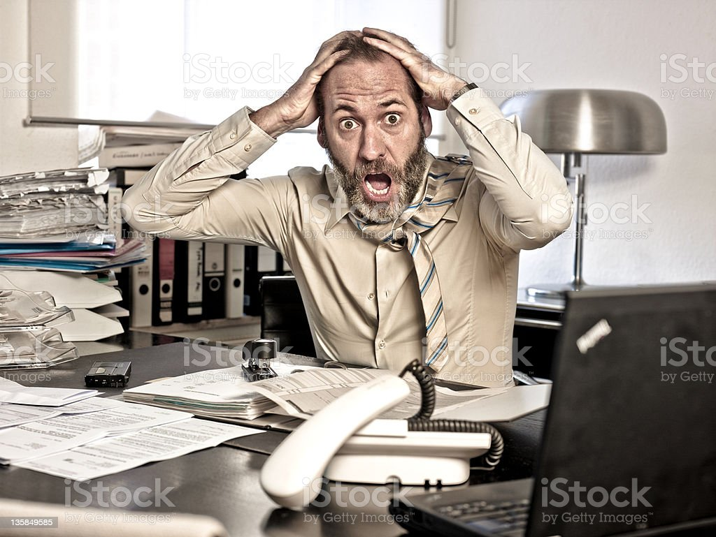Furious Businessman, mouth open royalty-free stock photo