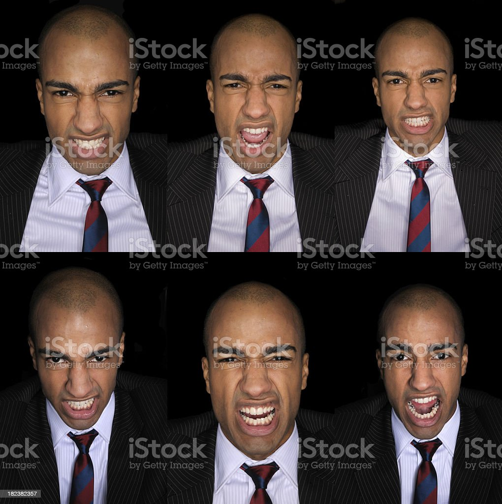 Furious Businessman On black background royalty-free stock photo
