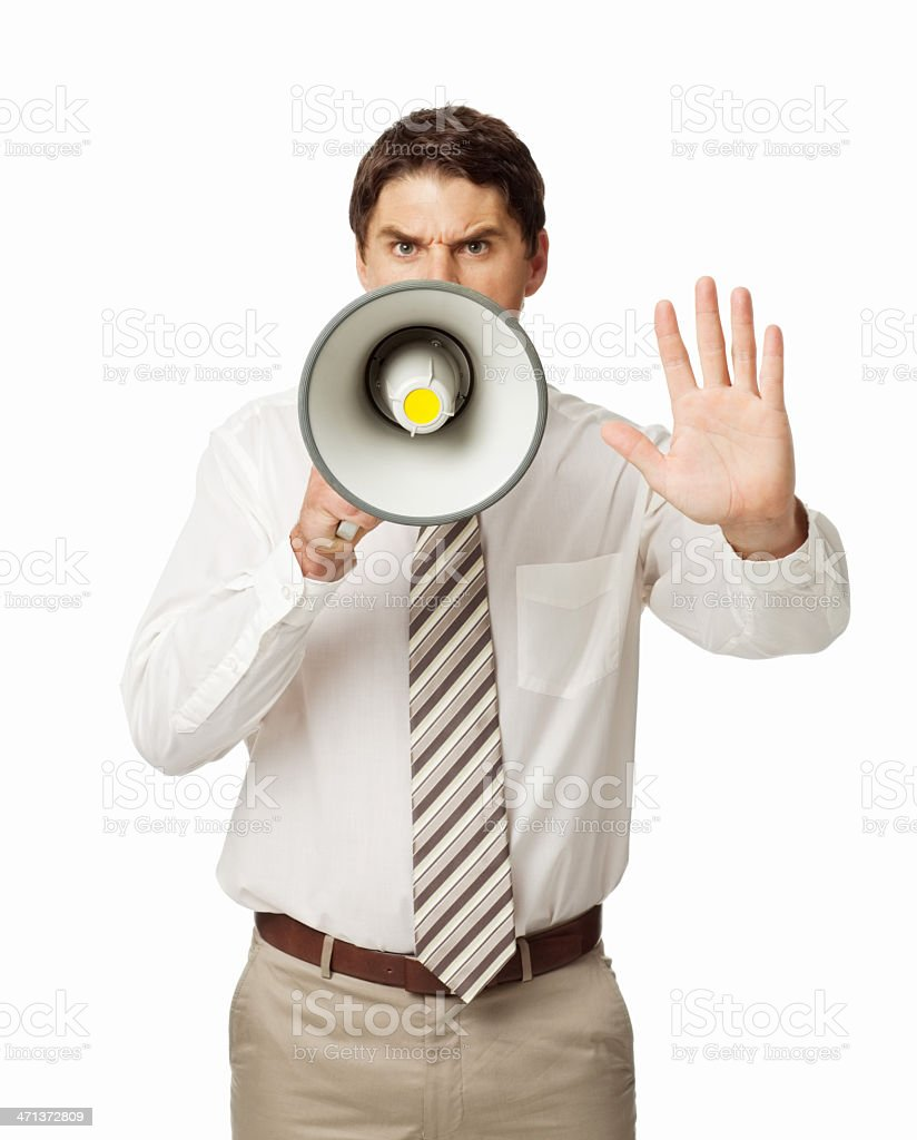 Furious Businessman Shouting Stop - Isolated royalty-free stock photo