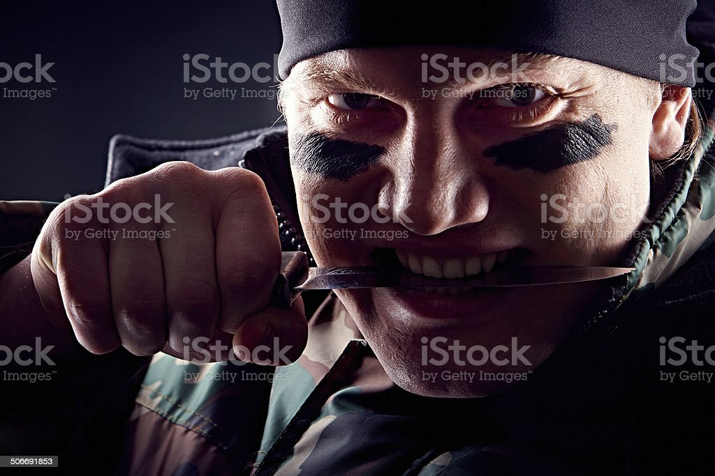 Furious fighter stock photo