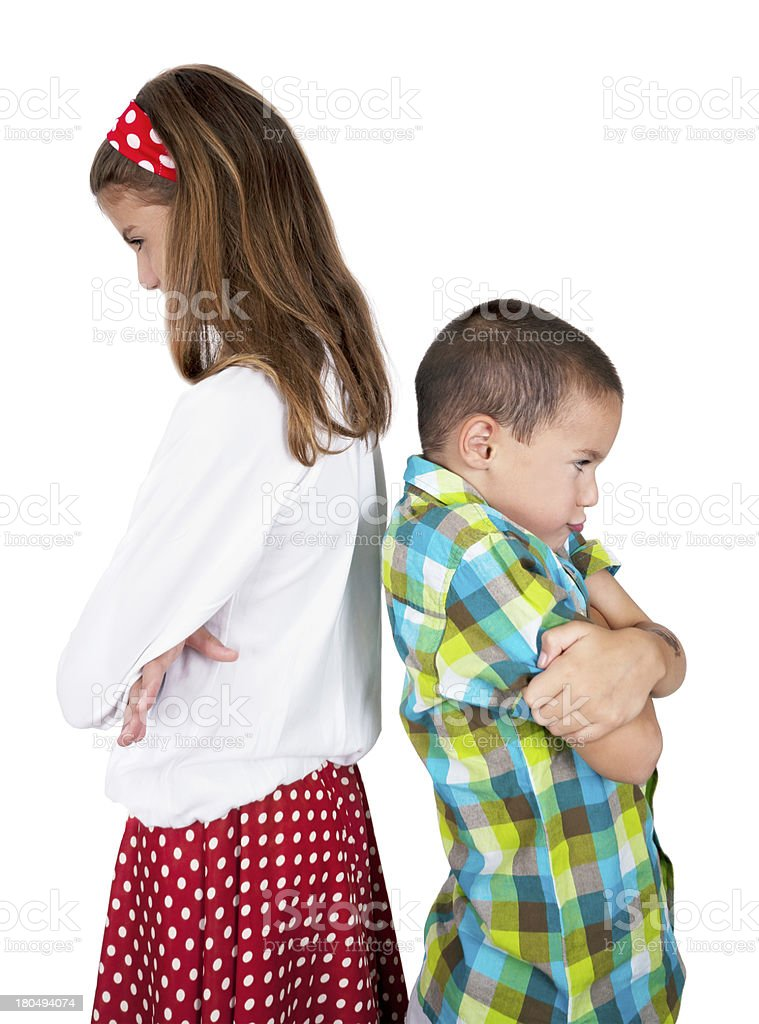 Furious girl and boy royalty-free stock photo