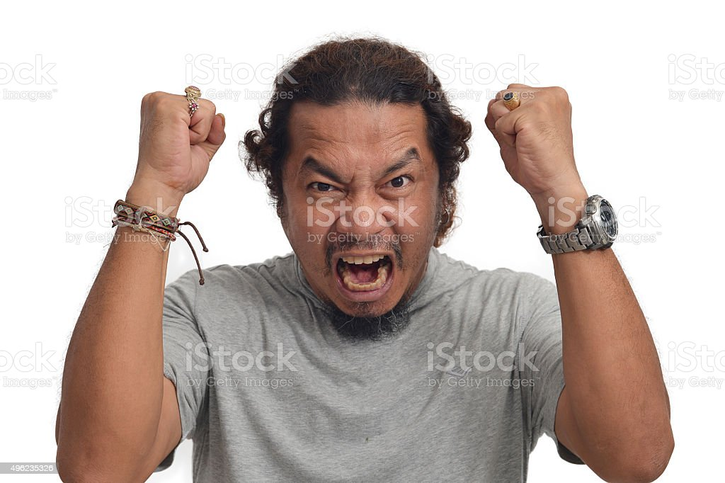 Furious man, yelling stock photo