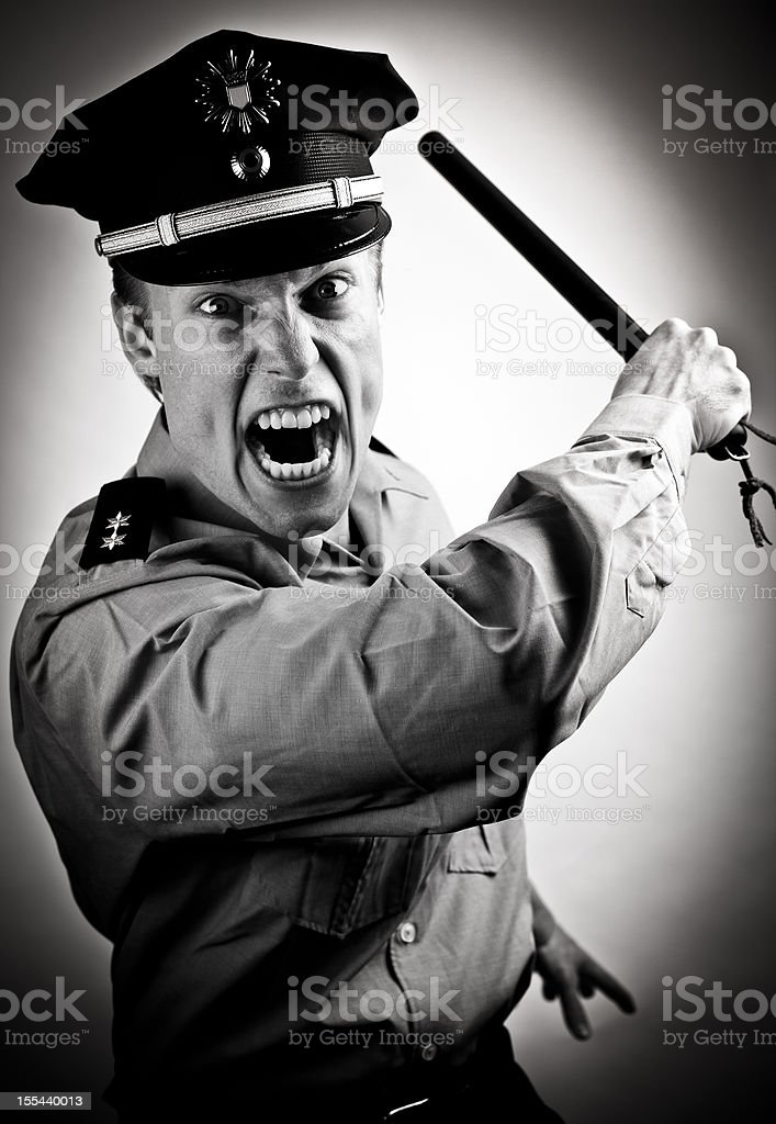 furious police officer stock photo