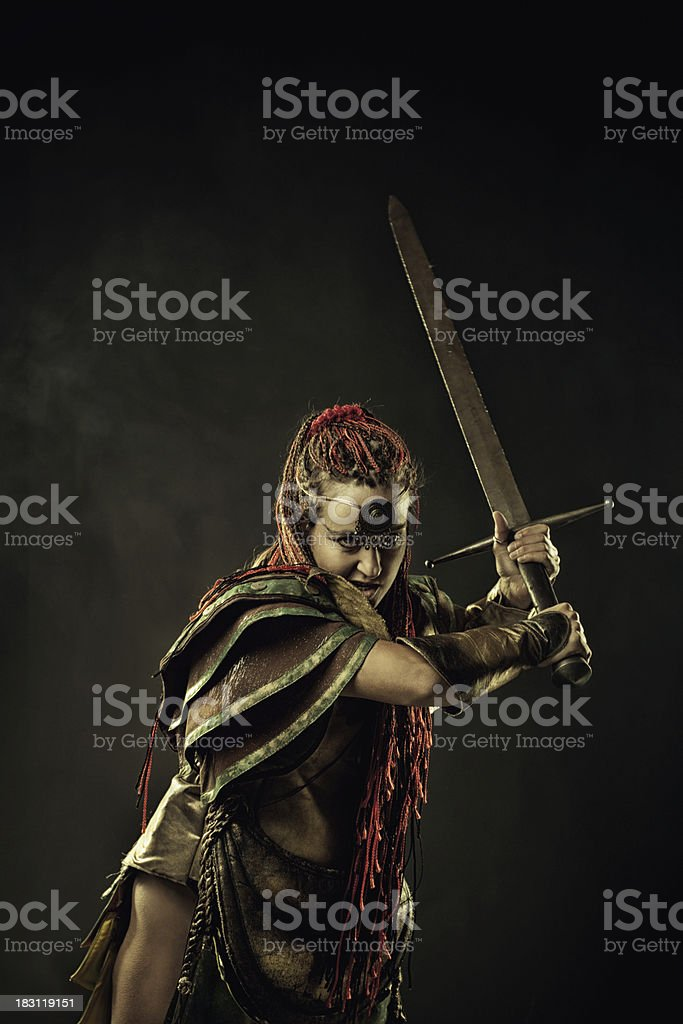 Furious warrior stock photo