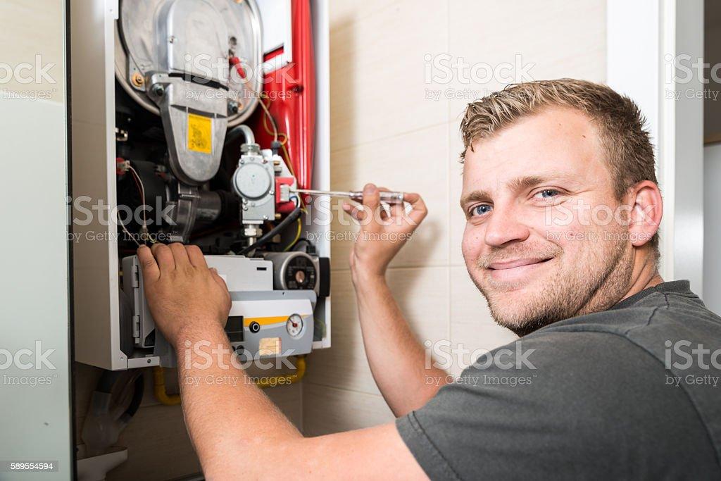 Furnace heating maintenance and repair stock photo