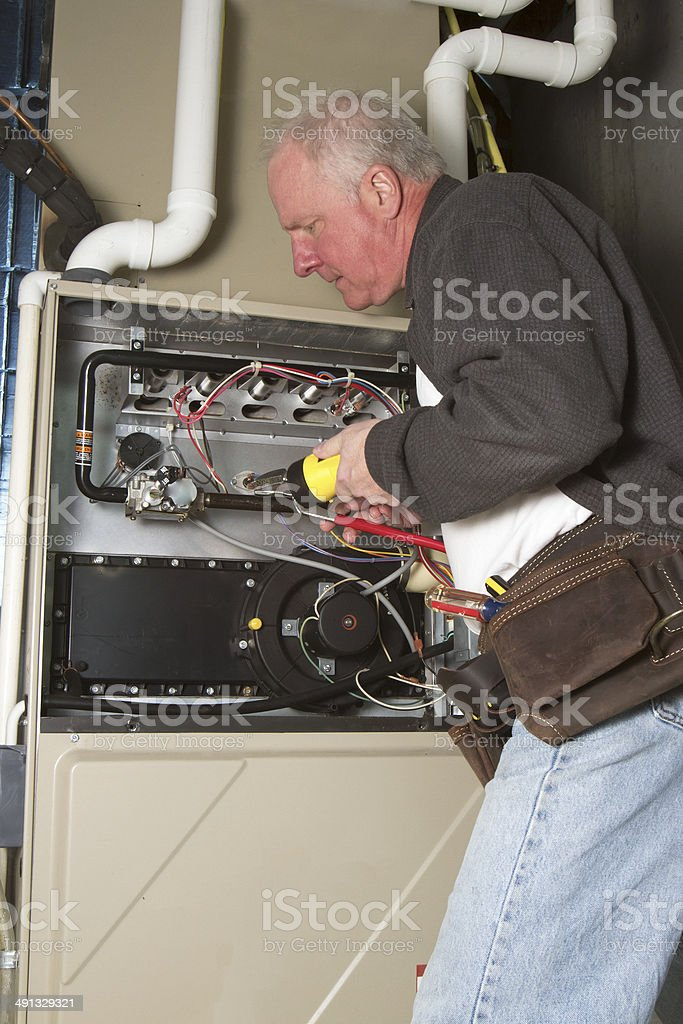 Furnace Maintenance stock photo