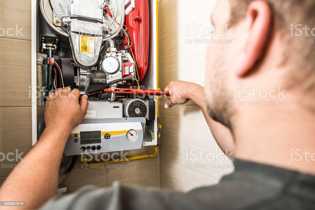 Furnace maintenance stock photo