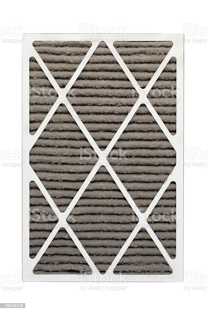 Furnace or HVAC Filter Clogged With Dust and Allergens stock photo
