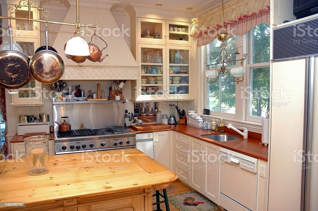 Furnished and stocked country kitchen stock photo