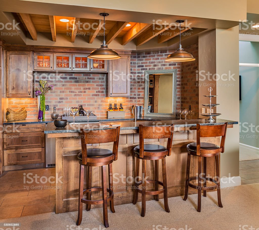 Furnished Bar in New Luxury Home stock photo