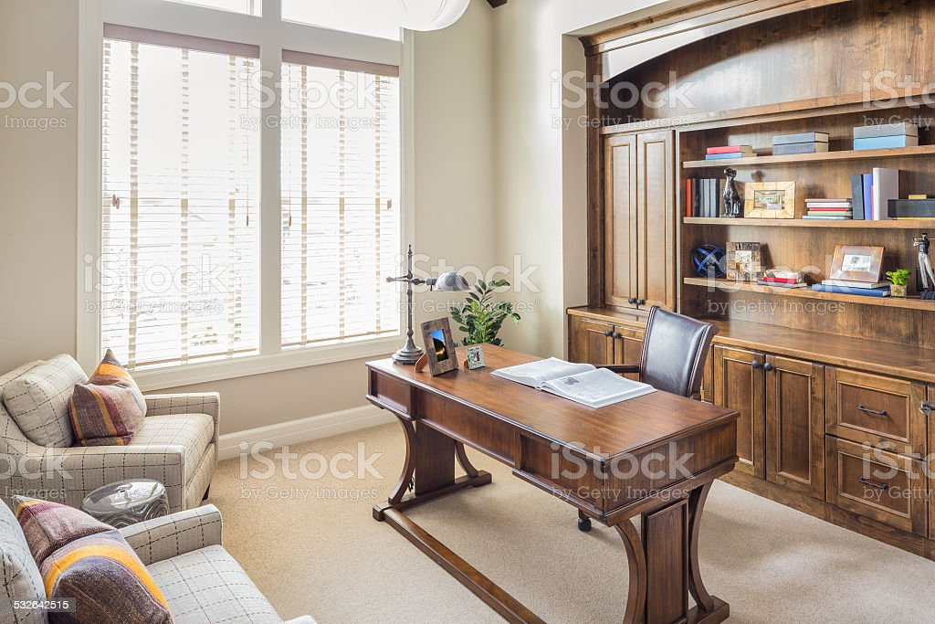 Furnished Home Office Room in Brand New Luxury Home stock photo