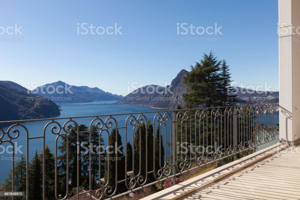 Furnished house design, balcony stock photo
