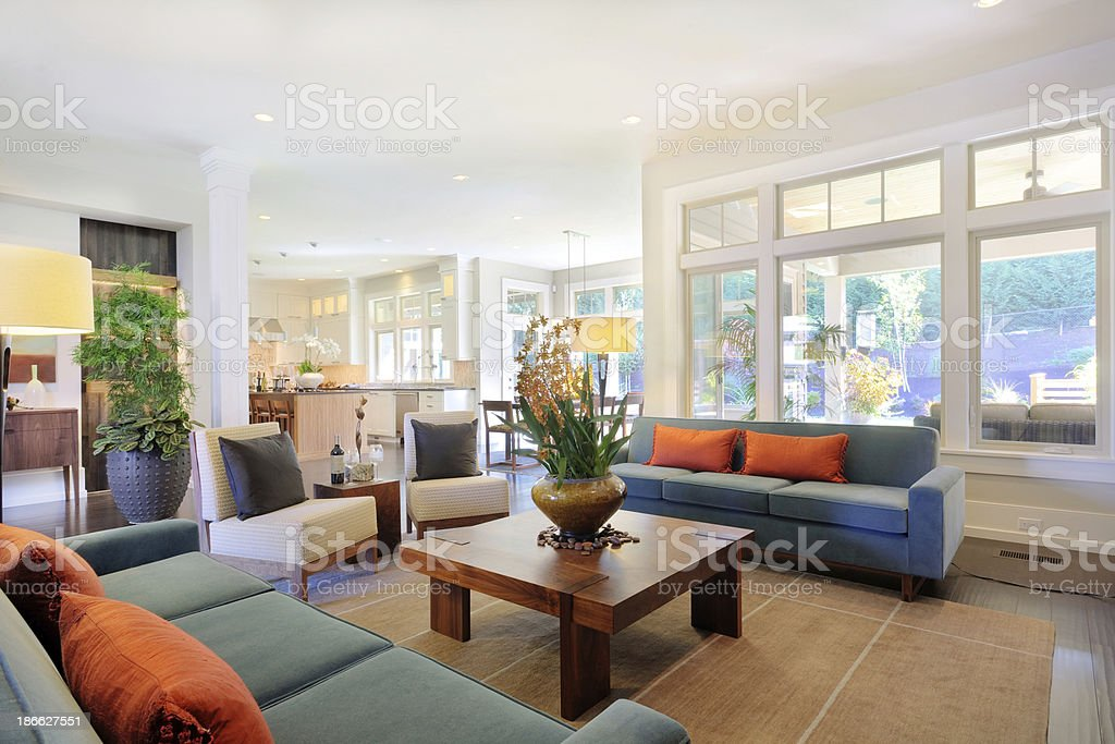 Furnished Living Room in Luxury Home stock photo