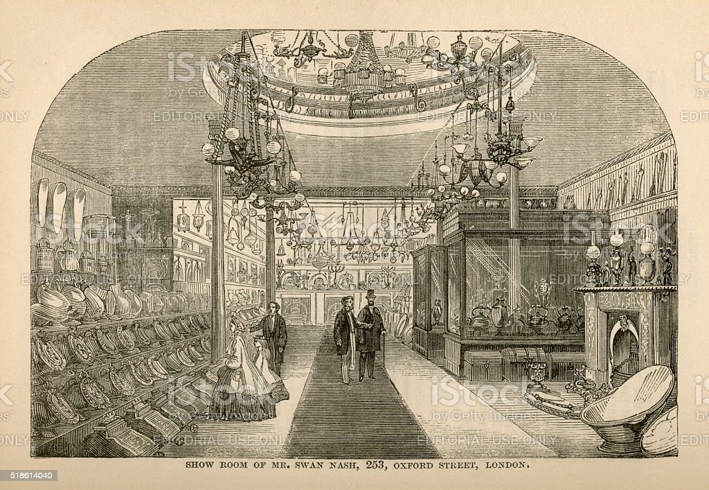 Furnishing Ironmonger's showroom advertisement, 1865 stock photo