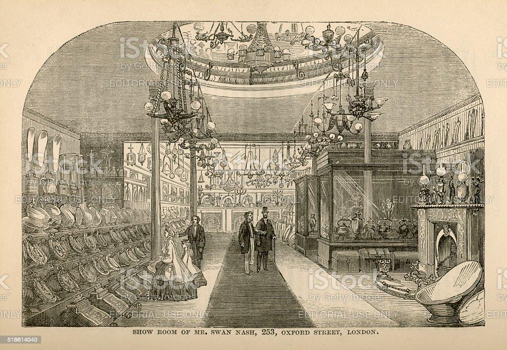 Furnishing Ironmonger's showroom advertisement, 1865 stock photo