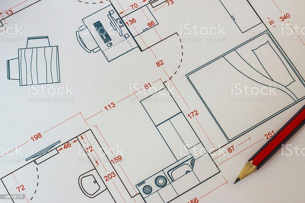 furniture arrangement drawing stock photo